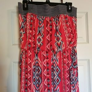 Strapless tribal maxi dress